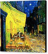 Terrace Of The Cafe On The Place Du Forum In Arles In The Evening Canvas Print by Pg Reproductions