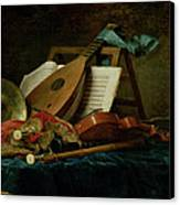 The Attributes Of Music Canvas Print by Anne Vallaer-Coster