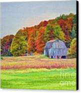 The Barn In Autumn Canvas Print by Michael Garyet