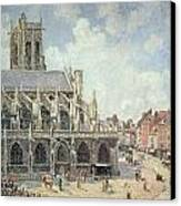 The Church Of Saint Jacques In Dieppe Canvas Print by Camille Pissarro