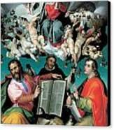 The Coronation Of The Virgin With Saints Luke Dominic And John The Evangelist Canvas Print by Bartolomeo Passarotti
