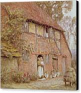 The Cottage With Beehives Canvas Print by Helen Allingham