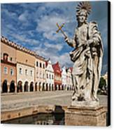 The Fountain And The Typical Houses Canvas Print by Maremagnum