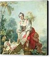 The Joys Of Motherhood Canvas Print by Jean-Honore Fragonard