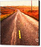 The Long Road Home . Painterly Style . Wide Size Canvas Print by Wingsdomain Art and Photography