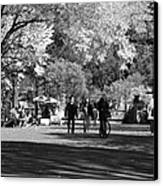 The Mall At Central Park In Black And White Canvas Print by Rob Hans
