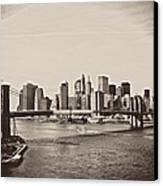 The New York City Skyline And The Brooklyn Bridge Canvas Print by Vivienne Gucwa