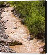 The Ourika River In Spate Canvas Print by Bob Gibbons