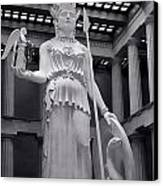The Statue Of Athena Bw Canvas Print by Linda Phelps