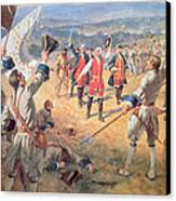 The Victory Of Montcalms Troops At Carillon Canvas Print by Henry Alexander Ogden