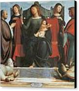 The Virgin And Child Enthroned Canvas Print by Bramantino