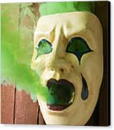 Theater Mask Spewing Green Smoke Canvas Print by Garry Gay