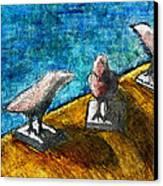 Three Birds Blue Canvas Print by James Raynor