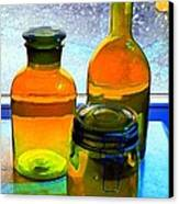 Three Bottles In Window Canvas Print by Dale   Ford