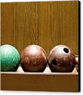 Three Bowling Balls Canvas Print by Benne Ochs