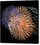 Three Bursts Of Fireworks Four July Two K Ten Canvas Print by Carl Deaville