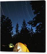 Time Exposure Of A Campers Tent Canvas Print by Rich Reid