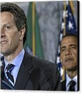 Timothy Geithner Speaks Canvas Print by Everett