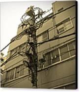 Tokyo Electric Pole Canvas Print by Naxart Studio
