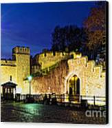 Tower Of London Walls At Night Canvas Print by Elena Elisseeva