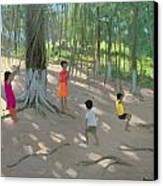 Tree Swing Canvas Print by Andrew Macara