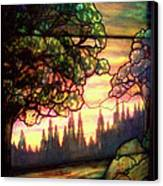 Trees Stained Glass Window Canvas Print by Thomas Woolworth