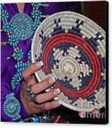 Turquoise And Navajo Wedding Basket Canvas Print by Anne Gordon