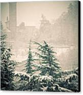 Turret In Snow Canvas Print by Silvia Ganora