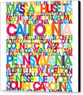 United States Usa Text Bus Blind Canvas Print by Michael Tompsett
