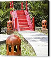 Up Garden Path Over Red Bridge Canvas Print by Kantilal Patel