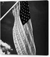 Us American Flag On Flagpole Against Blue Cloudy Sky Usa Canvas Print by Joe Fox
