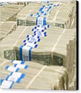 Us Dollar Bills In Bundles Canvas Print by Adam Crowley