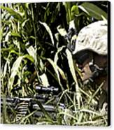 U.s. Marine Maintains Security Canvas Print by Stocktrek Images