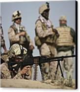 U.s. Marine Prepares To Fire A Pk Canvas Print by Terry Moore