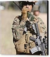 U.s. Marine Radios His Units Movements Canvas Print by Stocktrek Images