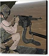 U.s. Marine Test Firing An M240 Heavy Canvas Print by Stocktrek Images