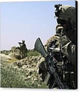 U.s. Marine Uses A Radio Canvas Print by Stocktrek Images