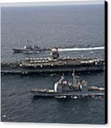 U.s. Navy Ships Transit The Atlantic Canvas Print by Stocktrek Images