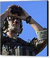 U.s. Special Operations Soldier Looks Canvas Print by Stocktrek Images