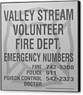 Valley Stream Fire Department In Black And White Canvas Print by Rob Hans