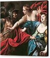 Venus Preventing Her Son Aeneas From Killing Helen Of Troy Canvas Print by Luca Ferrari