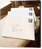View Of Letters Addressed To Darwin On His Desk Canvas Print by Volker Steger
