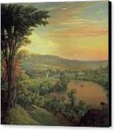 View Of The Mohawk Near Little Falls Canvas Print by Mannevillette Elihu Dearing Brown