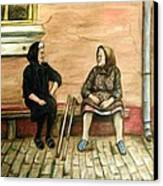 Village Gossip Canvas Print by Linda Nielsen