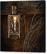 Vintage Lantern Hung In A Barn Canvas Print by Jill Battaglia