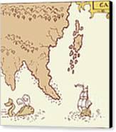 Vintage Map Treasure Island Tall Ship Whale Canvas Print by Aloysius Patrimonio