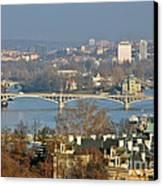 Vltava River In Prague - Tricky Laziness Canvas Print by Christine Till