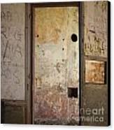 Walls With Graffiti In An Abandoned House. Canvas Print by Bernard Jaubert