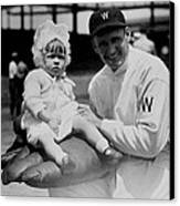Walter Johnson Holding A Baby - C 1924 Canvas Print by International  Images