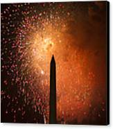 Washington Monument And Fireworks I Canvas Print by Phil Bolles